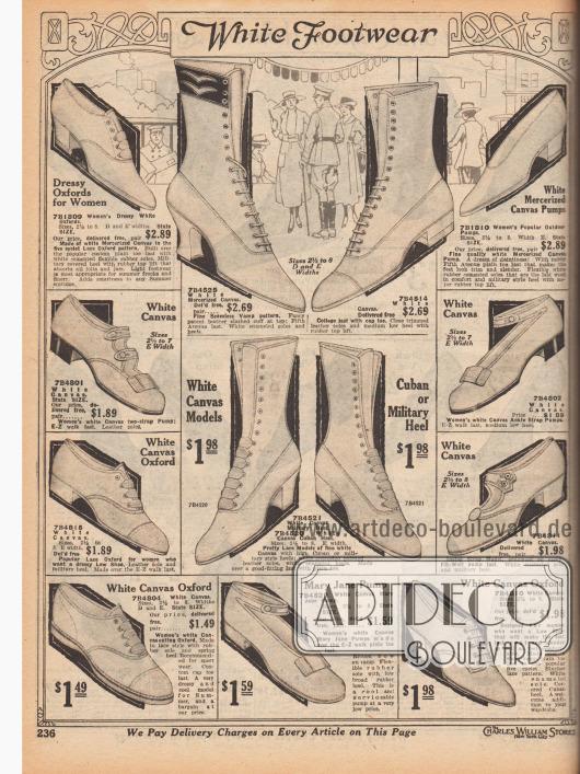 """""""Weißes Schuhwerk"""" (engl. """"White Footwear""""). Sommerliche Damenschuhe in einfachen Aufmachungen aus luftdurchlässigem weißen Kanevas für unterschiedlichste Anlässe und Freizeitaktivitäten. Unter den Schuhen sind Oxfords, Pumps, Schnallenschuhe, Pumps mit Knöchelschnalle, Stiefel und Stiefelletten sowie Sportschuhe. Die Absätze der Schuhe sind zumeist flach oder niedrig. Nur einzelne Modelle haben halbhohe Absätze. Die Stiefel zeigen mittelhohe kubanische oder geschwungene Louis XIV Absätze."""