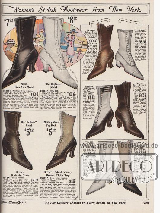 """""""Stilvolle Damenschuhe aus New York"""" (engl. """"Women's Stylish Footwear from New York""""). Mondäne und exklusive Schnürstiefel im teilweise zweifarbigen Design für Frauen. Die Stiefel sind aus """"Broadway braunem"""", weißem, goldbraunem oder schwarzem Ziegenleder, braunem Lackleder und Kalbsleder oder weißem Nubukleder (Leder mit angerauter Oberfläche). Bei zwei Modellen sind Oberteile (Schafte) aus farblich hellerem Stoff hergestellt. Die Absätze sind entweder geschwungene Louis XIV Absätze oder niedrigere, breite militärische Absätze. Lochlinienverzierungen (Perforationen) und fast ausschließlich spitze Kappen sind an den verschiedenen Modellen stilgebend."""