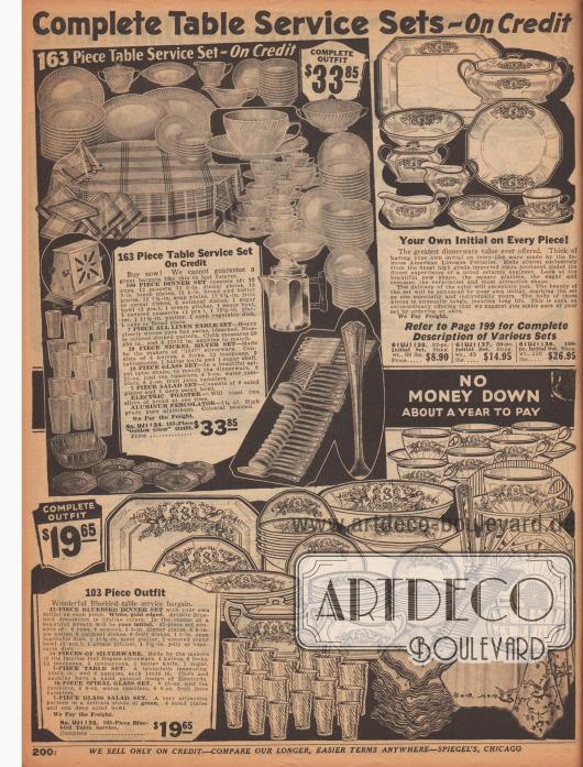 """""""Komplette Service- und Tischbesteck-Sets – Auf Kredit"""" (engl. """"Complete Table Service Sets – On Credit""""). Oben links ein 163-teiliges Tischservice. Das Set beinhaltet: 100 Porzellanstücke (Teller, Unterteller, Kaffeetassen, Suppenteller, Schüsseln, Obstschalen, etc.), sieben Stoffservietten einschließlich einer Tischdecke aus Leinen, ein 29-teiliges Silber-Besteckset der Marke 1847 Rogers (mit Messer, Gabeln, Teelöffeln, Esslöffeln, einem Buttermesser und einer Zuckerdose), ein 18-teiliges Glass-Set passend zum Service in Spiral-Optik (Saftgläser, Eistee-Becher und Wassergläser), ein siebenteiliges Salat-Set (Salatschalen und eine Salatschüssel), einen elektrischen Toaster und einen Kaffeekocher aus reinem Aluminium – insgesamt für 33,85 Dollar. Oben rechts ein wahlweise 32-, 50- oder 100-teiliges Porzellanservice, das mit den Initialen des Käufers versehen wird. Unten ein 103-teiliges Tischservice bestehend aus einem 42-teiligen Porzellanservice mit Bluebird Motiv (in den USA ein Glückssymbol), einem 29-teiligen Silberbesteck, einem Tischtuch und Stoffservietten ebenfalls mit Bluebird Motiv, einem 18-teiligen Spiralglas-Service und einem siebenteiligen Salat-Service aus Glas."""
