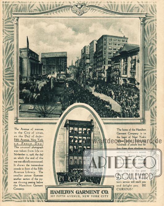 Rückseite des Katalogs. Die obere Fotografie zeigt die Parade am Tag des Waffenstillstandes am 11. November 1918 auf der New Yorker Fifth Avenue, aufgenommen an der New York Public Library. Das kleinere Bild darunter zeigt das Kaufhaus von Hamilton Garment an der 307 Fifth Avenue.