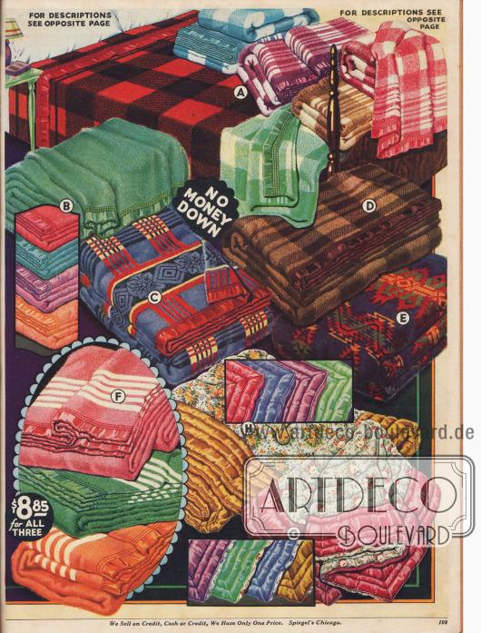 Einfarbige oder gemusterte Bett- und Wolldecken aus Wollstoffen, Kamelhaar, Alpaka, Rayon oder Satin.