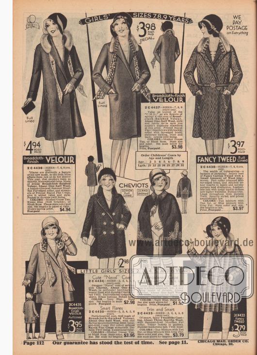 """""""Größen für 7, 8 und 9-jährige Mädchen"""" (engl. """"Girls' Sizes 7, 8, 9 Years""""). Drei Mäntel aus Velours-Breitgewebe oder fantasievoll gemustertem Baumwoll-Tweed für 7 bis 9-jährige Mädchen. Die Mäntel sind paspeliert oder teilweise gesteppt und mit langen, bunten Schalbändern versehen. Die Kragen sind mit Pelzblenden aus Mufflon (Wildschaf) verbrämt. Ein Modell mit schmalem Ledergürtel und Schnalle.  """"Größen für 2, 3, 4, 5 und 6-jährige kleine Mädchen"""" (engl. """"Little Girls' Sizes 2, 3, 4, 5 and 6 Years""""). Vier Mäntelchen aus Cheviot-Wolle, Breitgewebe-Velours und Wolle sowie Baumwoll-Woll-Tweed. Die Kragen sind mit auf Leopard gefärbtem Kaninchenfell oder Mufflon verbrämt. Ein doppelreihiges Modell im Marinestil. Ansonsten Mäntel mit Rayon-Stickerei, langen Schalenden oder aufgesetzten Taschen."""