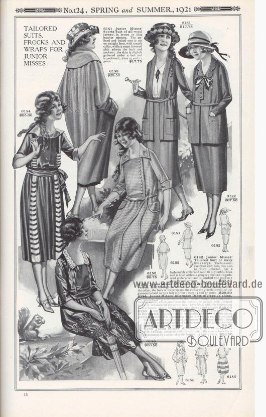 """Nr. 124, FRÜHLING und SOMMER, 1921.  SCHNEIDERKOSTÜM, KLEIDER UND WICKELMÄNTEL FÜR BACKFISCHE.  61S1: Sportkostüm aus reinem Woll-Jersey für Backfische, in brauner oder blauer Heidekrautmischung. Der ungefütterte und gegürtete Mantel ist gerade geschnitten, mit Smoking-Kragen, während eine elegante invertierte Falte den Rücken und die Taschen ziert; der Rock ist unter einem Gürtel leicht gerafft und mit Taschen versehen; Größen 15 und 17 Jahre… 17,75 $. 61S2: Schneiderkostüm für das junge Fräulein aus marineblauem Serge. Die gerade geschnittene Kostümjacke, hier skizziert mit Gürtel, kann auch ohne Gürtel getragen werden. Sie hat einen modischen Kragen und eine Satin-Krawatte mit jugendlichen Linien und ist mit Seiden-Pongee gefüttert; der Rock ist unter einem Gürtel gerafft und mit Taschen versehen; Größen 15 und 17 Jahre… 37,60 $. 61S3: Wickelmantel für Backfische aus Peking blauem oder hellbraunem Woll-Velours, durchgehend mit Seide gefüttert. Reihen von Seidenstickerei schmücken den Kragen, die Rückseite des Mantels und die Manschetten; der anmutige Schwung des Kleidungsstücks wird durch einen Gürtel vorne gehalten; Größen 15 und 17 Jahre… 29,50 $. 61S4: Nachmittagskleid für das jugendliche Fräulein aus Crêpe de Chine, die weichen Linien werden durch das """"Trellis""""-Muster betont, das einen kontrastierenden Farbton zeigt, der auch den modischen Kragen und die Manschetten bildet; drapierter breiter Stoffgürtel aus Eigenmaterial, dass an der Seite zur Schleife gebunden wird; Marineblau mit der Kontrastfarbe Henna; auch in Braun mit Hellbraun; Größen 15 und 17 Jahre… 25,00 $. 61S5: Ein sehr mädchenhaftes Kleid aus kariertem Gingham ist in der Skizze abgebildet; ein gerades Modell mit Kragen und Manschetten aus weißem Pikee, hübsch bestickt in einem kontrastierenden Kammgarnton; eine Reihe gehäkelter Knöpfe ziert die Taille, und der schmale Gürtel wird seitlich gebunden; große Taschen; in einer Kombination von Farben, wobei Rosa, Blau oder Grün vorherrschen; Größen 15"""