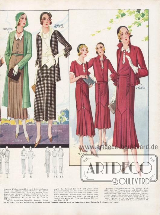 J 6312/13: Frühjahrscomplet, bestehend aus einem braunen Wollgeorgette-Kleid und dreiviertellangem Mantel aus leichtem grünen Wollstoff. An diesem aparte Biesengarnierung. Kleid mit weißem Pikeekragen und grünem Gürtel. Stoffverbrauch zum Kleid: etwa 2,60 m, zum Mantel: 2,35 m, je 130 cm breit. Schnittgröße 42, 44, 46 und 48, Preis je RM. 1.-. J 6314/15: Sportliches Ensemble: Karierter Jersey ergibt das Material für Rock und Jacke, deren Reversbekleidung mit der hellen Crêpe-satin-Bluse harmoniert. Der Rock wird vorn von einem Faltenfächer erweitert. Stoffverbrauch zum Kostüm: etwa 3,50 m, 130 cm breit, zur Bluse 2 m, 100 cm breit. Schnittgröße 44 und 48. Preis zum Kostüm RM. 1,-, zur Bluse 40 Pf. J 6316/17: Frühjahrsensemble aus leichtem Wollstoff. Das mit Faltengruppen und Blenden apart verarbeitete Kleid wird durch ein kurzes Jäckchen vervollständigt, das offen und geschlossen getragen werden kann. Garnierung aus hellem Crêpe de Chine. Stoffverbrauch zum Kleid: etwa 2,85 m, zur Jacke: 1,45 m, je 130 cm breit. Schnittgröße 44 und 48, Preis zum Kleid RM. 1,-, zur Jacke 75 Pf. [Seite 26e]