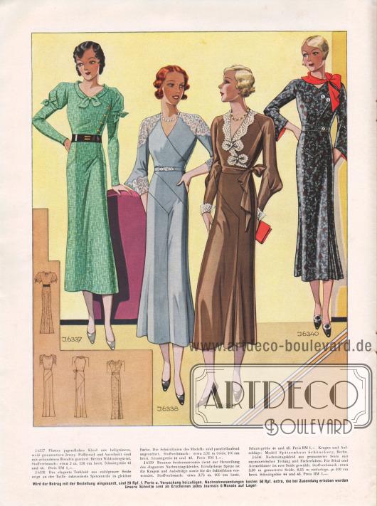 6337: Flottes jugendliches Kleid aus hellgrünem, weiß gemustertem Jersey. Puffärmel und Ausschnitt sind mit gebundenen Blenden garniert. Breiter Wildledergürtel. 6338: Das elegante Teekleid aus stahlgrauer Seide zeigt an der Taille inkrustierte Spitzenteile in gleicher Farbe. Die Schnittlinien des Modells sind parallellaufend angeordnet. 6339: Brauner Seidenmarocain dient zur Herstellung des eleganten Nachmittagskleides. Ecrufarbene Spitze ist für Kragen und Aufschläge sowie für die Schleifchen verwendet. Kragen und Aufschläge: Modell Spitzenhaus Schöneberg, Berlin. 6340: Nachmittagskleid aus gemusterter Seide mit asymmetrischer Teilung und Fächerfalten. Für Schal und Ärmelfutter ist rote Seide gewählt.
