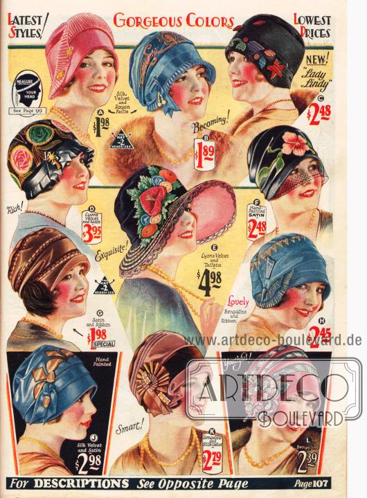 Reich verzierte, farbenfrohe Filz– und Samthüte für den Winter.