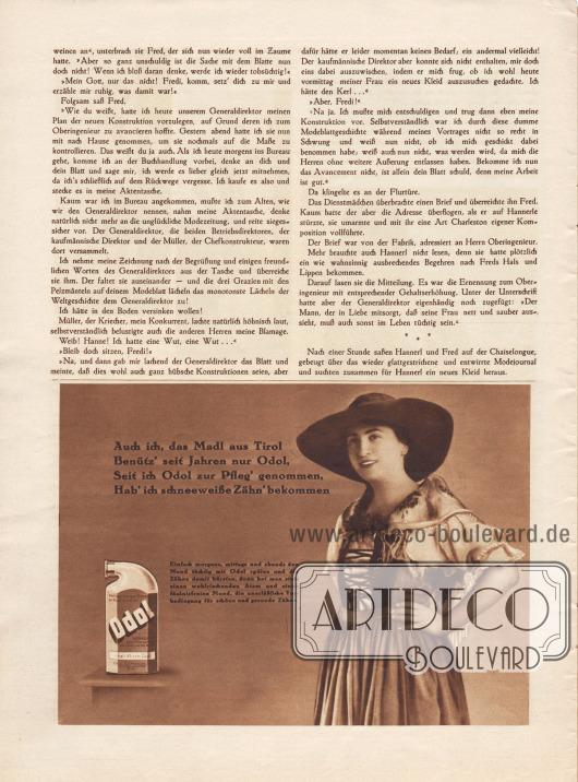 """Artikel: Scherer, A. H., Ihre Modenzeitung. Humoreske von A. H. Scherer.  Werbung: """"Auch ich, das Madl aus Tirol, Benütz' seit Jahren nur Odol, Seit ich Odol zur Pfleg' genommen, Hab' ich schneeweiße Zähn' bekommen"""", Odol Mundspülung."""