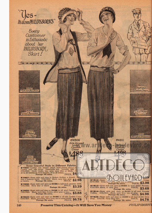 Doppelseite mit Sportröcken und Kniebundhosen für Frauen. Die Röcke werden wahlweise aus verschiedenen plissierten Stoffen angeboten wie Angorawolle, leichtem Woll-Panama, Woll-Kanton Krepp, Seiden-Kanton Krepp, Woll-Kanton-Mischstoff, Woll-Panama Mischstoff und Wollserge. Die Kniebundhosen können wahlweise aus Khakistoff, reinem Leinen, Woll-Tweed, Kamelhaar oder Khaki-Kordstoff sein.