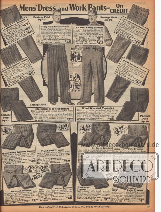 """""""Anzug- und Arbeitshosen für Männer – Auf Kredit"""" (engl. """"Men's Dress and Work Pants – On Credit""""). Die Hosen für verschiedene Gelegenheiten sind aus Woll-Serge, Woll-Kaschmir, Woll-Kersey (?), Kord, importierter Kaschmirwolle, Moleskin (dt. Englischleder), Whipcord oder Woll-Melton. Die Stoffe zeigen feine oder breite Streifenmuster oder Heringsmuster. Unten rechts werden zudem Breeches (dt. Reithosen) und """"Army Style Breeches"""" aus Kord oder Woll-Melton offeriert."""