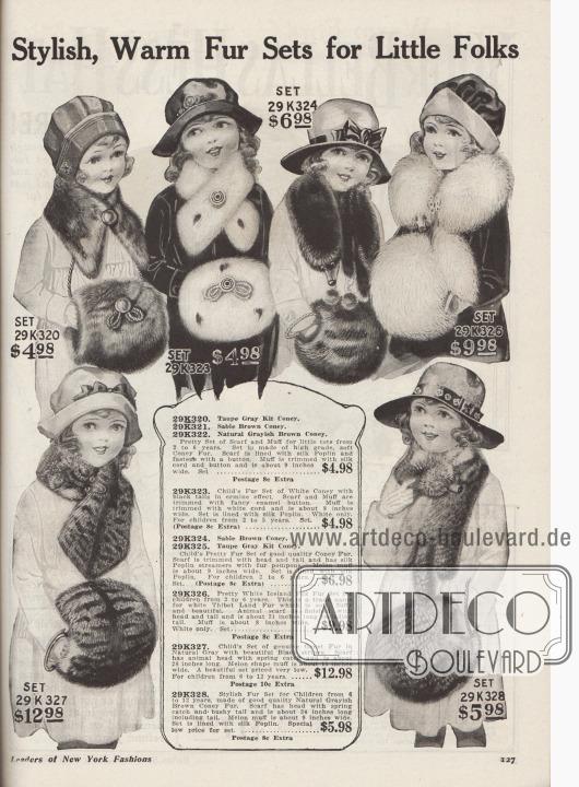 """""""Elegante, warme Pelz-Garnituren für kleine Leute"""" (engl. """"Stylish, Warm Fur Sets for Little Folks""""). Pelzwaren für 2 bis 6-jährige Mädchen oben und 6 bis 12-jährige Mädchen unten.  29K320 / 29K321 / 29K322: Pelzkragen und Muff aus maulwurfsgrauem, zobelbraunem oder gräulich braunem Kaninchen für 4,98 Dollar. Seiden-Popeline Futter. Kragen mit Knopfschluss. Muff mit Kordel und Knopf. 29K323: Pelzgarnitur aus Kaninchen in Hermelin-Effekt für 4,98 Dollar. Emaille-Knöpfe und weiße Kordel. Pelzkrawatte und Muff mit Seiden-Popeline abgefüttert. 29K324 / 29K325: Pelzschal und Muff aus wahlweise zobelbraunem oder maulwurfsgrauem Kaninchenfell für 6,98 Dollar. Schal mit Tierkopf und Schweif sowie Seiden-Popeline Bänder beschwert mit Pelzkugeln. 29K326: Pelzgarnitur aus weißem, fluffig weichem Islandfuchs (Tibet-Lamm) für 9,98 Dollar. 29K327: Pelzkrawatte bzw. Schal und Muff in Melonenform aus Ginsterkatzenfell in natürlichem Grau mit schwarzen Streifen zum Preis von 12,98 Dollar. Krawatte mit Schnappfeder-Verschluss. 29K328: Pelzgarnitur. Pelzschal und Muff aus natürlich gräulich braunem Kaninchen für 5,98 Dollar. Schal mit Tierkopf, buschigem Schweif und Schnappfeder-Verschluss. Set abgefüttert mit Seiden-Popeline."""