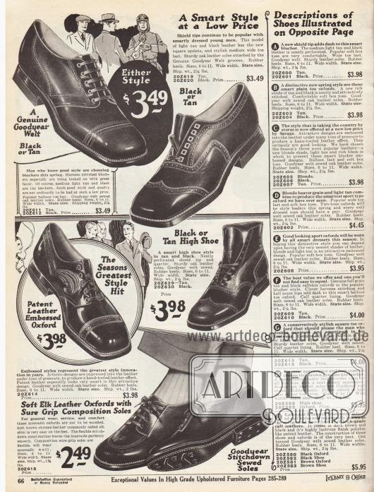 """Feine Straßenschuhe aus dunklen und dunkelbraunen Ledersorten für Herren. Unter den Schuhen sind zwei Derby Modelle (links oben und links unten), ein Oxford (rechts oben), eine Stiefelette und ein Oxford mit Mokassin Rundnaht aus Elchsleder. Die Schuhe sind teilweise geprägt, mit Ziernähten oder Perforationen versehen. Ein Halfbrogue mit Lochlinienverzierung auf der Naht der Querkappe sowie ein Fullbrogue Modell (Stiefelette). Die Schuhe sind Rahmenvernäht (engl. """"Goodyear welted"""")."""