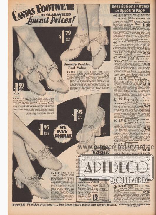 """""""Leinenschuhe zu garantierten Niedrigpreisen!"""" (engl. """"Canvas Footwear at Guaranteed Lowest Prices!""""). Drei Schnallenschuhe mit Riemchen sowie ein Paar Oxfords aus sommerlich leichtem, luftdurchlässigem, weißem Kanevas für Damen. Die beiden rechten Modelle wurden mit hellen dekorativen Leder-Applikationen besetzt. Das Oxford-Modell unten links wurde mit Ausstanzungen gearbeitet. Alle Schuhpaare sind mit mittelhohen, breiten Kubanischen Absätzen (""""Cuban heels"""") gefertigt; zwei Paare mit Schleifchen. Unten mittig wird Schuhcreme für Lederschuhe für 15 Cent die Flasche angeboten."""