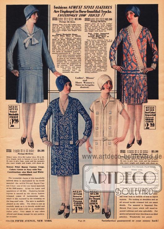 Schlichte, aber feine Damenkleider für den kleinen Geldbeutel aus Pikee, bedrucktem Rayon Krepp, importiertem, sanforisiertem Leinen und bedrucktem, importiertem Breitgewebe. Drei der Röcke sind plissiert und mit Quetschfalten gearbeitet. Das blaue Modell oben links zeigt symmetrische Paspelierung und eine weiße krawattenähnlich gebundene Schleife mit Polkapunkten. Das blaue, gemusterte Kleid links unten besitzt einen angenähten Schal, der bis in den Schoß fällt. In der Front des Mantelkleides links unten zeigt sich ein mit bunten Punkten bedrucktes Unterkleid. Die Front ist handbestickt und die Schultern mit Biesen versehen. Das bunte Modell oben rechts präsentiert eine Garnitur aus weißem Organdy.