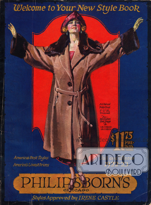 Titelseite bzw. Cover des Herbst/Winter Versandhauskatalogs der Firma Philipsborn's aus Chicago, Illinois, USA von 1922-23.