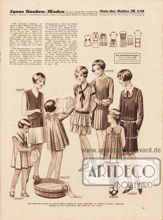 5975: Ärmelloses Kleidchen aus feinem, weißen Wollstoff für Mädchen von 2 bis 6 Jahren. Blendenbesatz und Smocknäherei in Rot. Schnitt für 2 bis 4 Jahre und 4 bis 6 Jahre.5976: Jumperkleid aus weißem und rotem Popeline. Der Rock zeigt vorn Faltengruppen, am Jumper bildet eine Biese den Blendeneffekt. Schnitt für 8 bis 12 Jahre.5977: Hängerkleidchen aus farbigem Voile mit Raglanärmeln und Smocknäherei. An Ärmeln und Rock Säumchenschmuck. Schnitt für 2 bis 4 Jahre und 4 bis 6 Jahre.5978: Schulkleid aus getupftem Musselin für Mädchen von 6 bis 10 Jahren. Den Rock bilden zwei Glockenvolants. Aufschlaggarnitur, Gürtel und Schleife aus einfarbigem Material.5979: Kleid aus blauem Wollstoff mit Faltenrock. Die Bluse ist fein plissiert und einer leicht bestickten Passe angesetzt. Schnitt für 8 bis 12 Jahre.5980: Passenkleidchen aus Wollkrepp für Mädchen von 1 bis 4 Jahren. Den Rock ergeben tiefe Tollfalten. Blendenbesatz in zwei abgetönten Farben, heller Kragen.5981: Kleid aus marineblauem Rips mit weißer Aufschlaggarnitur, Gürtel, Einfassung und Schleife in Rot. Bluse und Volants sind plissiert. Schnitt für 12 bis 14 Jahre und 14 bis 16 Jahre.