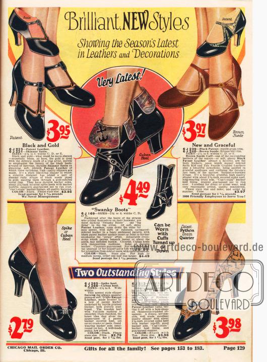 """Damenschuhe. Vier Pumps (das Paar unten rechts aus Lackleder und Pythonleder) und ein Paar """"todschicke Stiefel""""."""