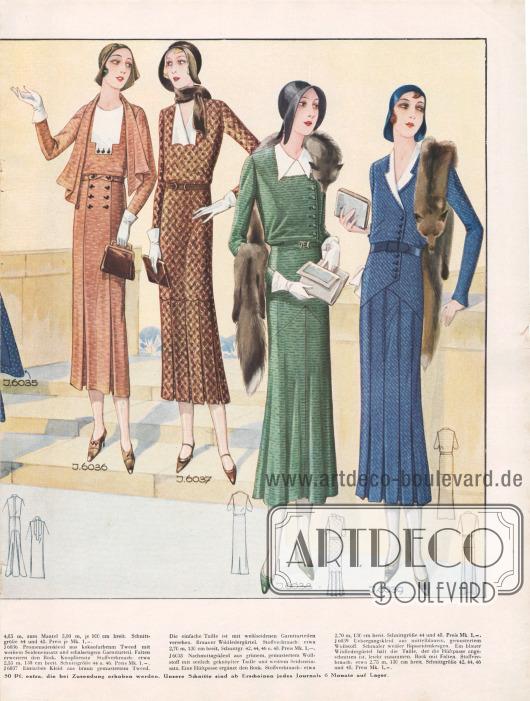 6036: Promenadenkleid aus kakaofarbenem Tweed mit weißem Seideneinsatz und schalartigem Garniturteil. Falten erweitern den Rock. Knopfbesatz. 6037: Einfaches Kleid aus braun gemustertem Tweed. Die einfache Taille ist mit weißseidenen Garniturteilen versehen. Brauner Wildledergürtel. 6038: Nachmittagskleid aus grünem, gemustertem Wollstoff mit seitlich geknöpfter Taille und weißem Seideneinsatz. Eine Hüftpasse ergänzt den Rock. 6039: Übergangskleid aus mittelblauem, gemustertem Wollstoff. Schmaler weißer Ripsseidenkragen. Ein blauer Wildledergürtel hält die Taille, der die Hüftpasse angeschnitten ist, leicht zusammen. Rock mit Falten.