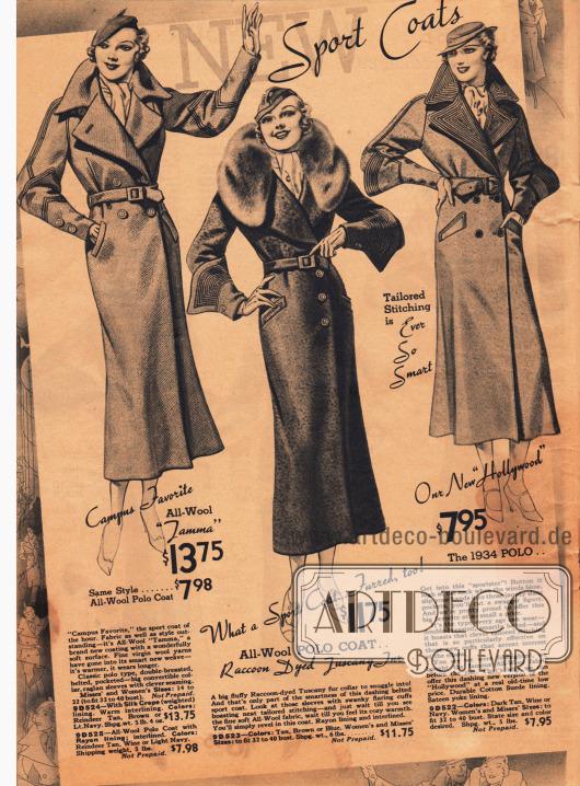 Aus reiner Wolle gefertigte sportliche Polomäntel mit interessanten Ärmelaufschlägen für die modebewusste Frau.