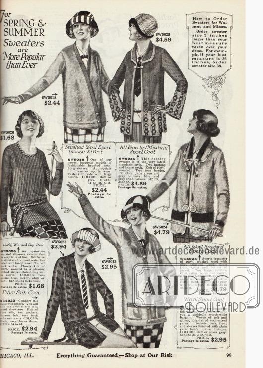 Strickjacken, eine Kasack und wärmende Jäckchen für Frauen aus gekämmter Wolle, Seidenstoff und anderen Wollstoffen. Die Jacken werden lose über Knöpfe, Gürtel oder Schlaufen geschlossen.