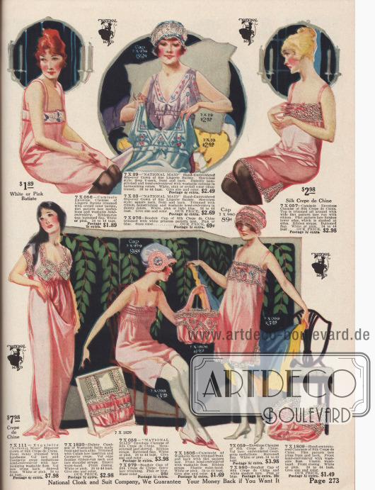 """Damenunterwäsche aus Crêpe de Chine, Satin, Batist und Baumwolle mit Stickereien und Spitzengarnierungen. Darunter befinden sich Camisoles (dt.: """"Damenuntertaillen""""), Schlafroben, Unterhemden und passenden Hauben (engl.: """"boudoir caps"""")."""