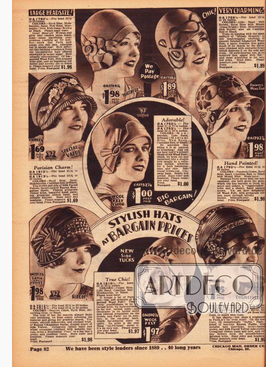 """""""Sylish Hats at Bargain Prices"""" (dt. """"Modische Hüte zu Schnäppchenpreisen""""). Die gezeigten Damenhüte sind aus Wollfilz, Seiden-Samt und Rayon-Bengaline, Rayon-Satin sowie Rayon-Faille. Verschiedenartig gearbeitete Ripsbänder, aufgestickte Blüten oder aufgemalte Blumenapplikationen, Metallknöpfe sowie Schnallen aus Celluloid sind als Aufputz an den Hüte zu finden."""