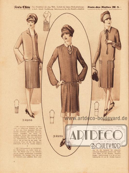 2958: Elegantes Straßenkleid aus Bastseide mit effektvoller Stickerei, die sich an dem zum Kleid passenden Wollrips-Jäckchen wiederholt. Das Kleid zeigt einen eckigen Ausschnitt und kurze, angeschnittene Ärmel. Das rückwärts blusig gehaltene Jäckchen fällt vorn boleroartig aus. 2959: Übergangskleid aus buntbedrucktem Wollmusselin, mit weißer Seide garniert. Das Modell zeigt an den Schultern und der glockig geschnittenen Vorderbahn Waffelarbeit. Der blusigen Taille fügt sich der rückwärts glatt gehaltene Rock unter einem weißen, die Vorderbahn freilassenden Gürtel an. Rocksaum, Kragen und Manschetten sind ebenfalls weiß. 2960: Straßenkleid aus bleufarbenem Rips-Papillon. Vorn durchgehend geschnitten, zeigt das Modell jederseits ein apartes Faltenarrangement, dem sich der Blusenschoß und der rückwärts glatt gehaltene Rockteil anfügen. Die Falten schließen zackig geschnittene weiße Blenden ab, die karoartig mit schmalem, schwarzem Seidenband garniert sind. Ähnlicher Effekt an den Ärmeln. Doppelter Kragen.