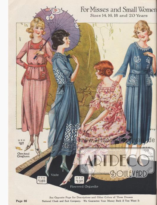 Kleider in kleinen Größen aus kariertem Gingham, reich besticktem Voilestoff, geblümtem Organdy und Leinen.