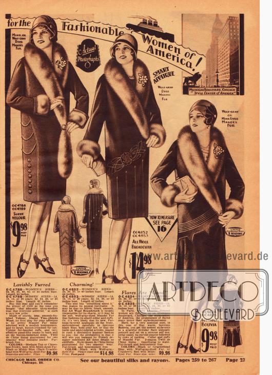 """""""The Loveliest Styles from Paris for the Fashionable Women of America!"""" (dt. """"Die lieblichsten Mode aus Paris für die eleganten Frauen Amerikas!""""). Günstige Wintermäntel für Damen aus Woll-Velours, Woll-Breitgewebe und Bolivia. Die voluminösen Schalkragen sind aus """"mandel fur"""" (chinesischer Schafswolle) hergestellt. Ziernähte, Paspeln oder Stickereien geben die besondere Note."""