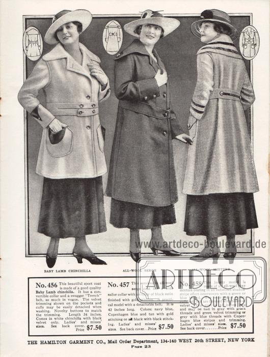 """Günstige Damenmäntel für jeweils 7,50 Dollar aus Chinchilla, Woll-Serge und einem Woll-Mischgewebe. Der erste Kurzmantel präsentiert einen """"swagger 'Trench' belt"""", einen auffälligen Gürtel, wie man ihn 1917 neuerdings an Trenchcoats fand. Die dunklen Garniturteile aus Samt an Ärmelaufschlägen und Taschen können vor dem Waschen einfach abgenommen werden. Der zweite Mantel besitzt einen besonders ausladenden Matrosenkragen und ist an den Schultern mit Knöpfen befestigt. Das dritte Modell ist mit dunklen Samt-Streifen an Kragen, Gürtel und Ärmeln garniert."""