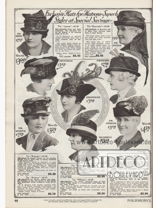 """""""Exklusive Hüte für ältere Damen – Prächtige Modelle mit besonderer Ersparnis"""" (engl. """"Exclusive Hats for Matrons – Superb Styles at Special Savings""""). Konservative, aber kleidsame Damenhüte aus Samt, merzerisiertem Samt oder Samt und Satin für ältere Damen und reife Frauen ab 50 Jahre. Die Modelle sind etwas zurückhaltender aufgemacht als Hüte für junge Frauen. Unter den Hutformen sind mehrere Turbane, ein Dreispitz sowie ein Modell, das sich an ein Barett anlehnt (3R10261M). Bei einem Modell ist der Stoff um den Hutkopf besonders drapiert (3R10256M). Oben rechts ein Hut zur Trauer mit Schleier. Ripsbänder, in Fältchen gelegte Bandgarnituren, Stofffedern, Rosetten und Kokarden, neuartige Hutnadeln, Paradiesfedern, Vogelflügel oder opulente Straußenfedern zieren die Hüte."""