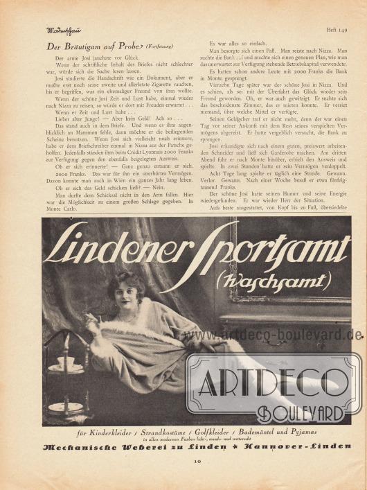 Artikel:Jung, Hans, Der Bräutigam auf Probe.Werbung:Lindener Sportsamt (Waschsamt), Mechanische Weberei zu Linden, Hannover-Linden.Fotografie: unbekannt.