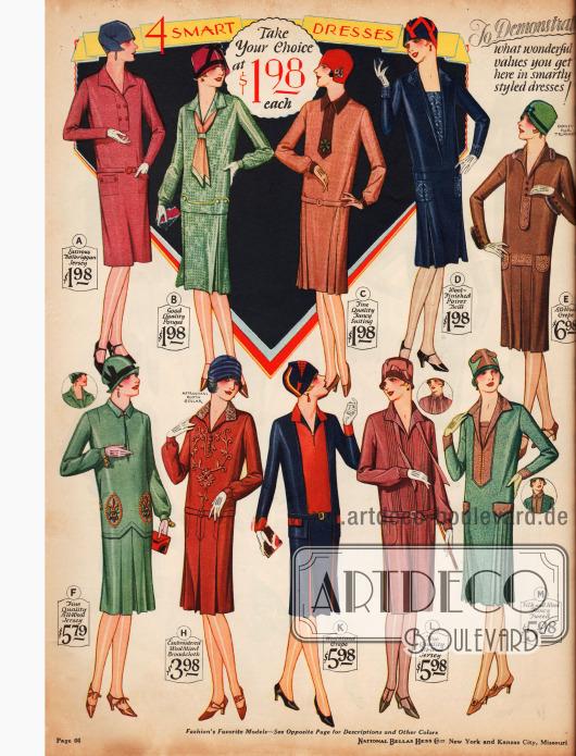 Einfache Damenkleider für den täglichen Bedarf für 1,98 bis 6,98 $ aus Jersey, Seide, Wollmischstoffen, Woll-Krepp, Woll-Jersey und Tweed.