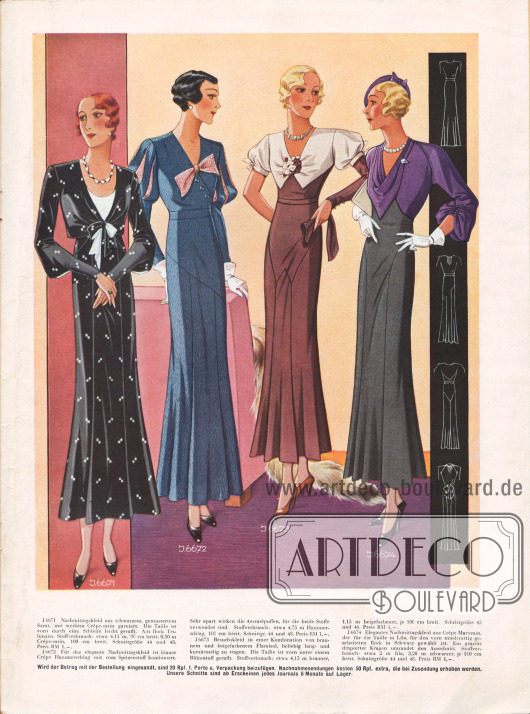 Nachmittagskleider und ein Besuchskleid (zweites Modell von rechts).