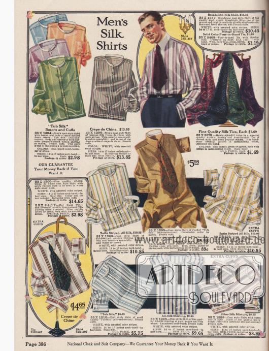 """""""Seidenhemden für Männer"""" (engl. """"Men's Silk Shirts""""). Qualitativ hochwertige, gemusterte oder gestreifte Anzughemden und Krawatten aus """"Tub Silk"""" (Baumwoll-Seiden-Mischstoff), Seiden-Breitgewebe, Seiden-Crêpe de Chine, """"Silk Shirting"""" (seidener Hemdstoff) oder kunstseidenem Stoff in schwerer Qualität für bis zu 14,65 Dollar. Die Seidenkrawatten sind bunt und orientalisch gemustert. Der überwiegende Teil der Anzughemden wird ohne Kragen geliefert. Diese können auf Seite 388 bestellt werden."""