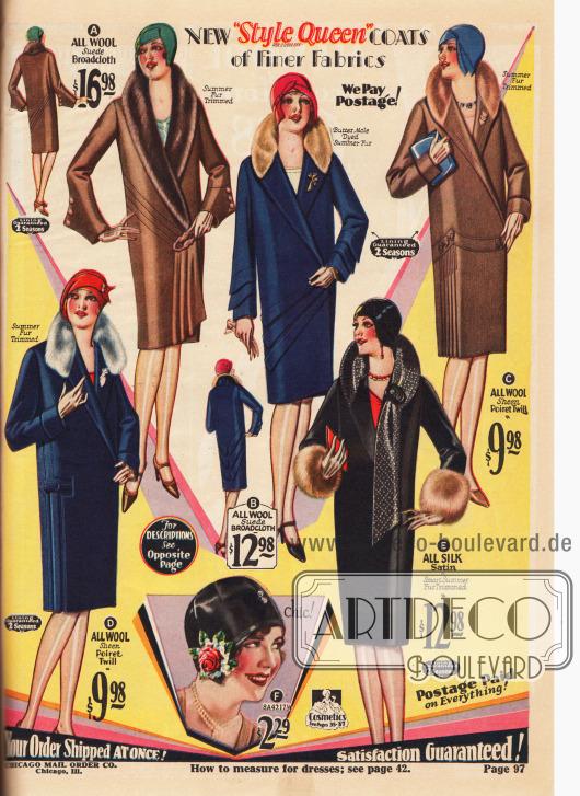 """Damenmäntel der Eigenmarke """"Style Queen"""" aus Wolle, Poiret-Wolle und Woll-Breitgewebe mit Mufflon und Kaninchenbesatz. Unten im Bild ist ein Hut aus schwarzem Seiden-Taft mit Rosen und Vergissmeinnicht-Applikation. Etwas heraus aus dem Angebot fällt der schwarze Mantel aus Seiden-Satin (E) dessen Kragen schalartig um den Hals geführt und von einer Schnalle gehalten wird. Die Ärmelstulpen sind mit Mufflon-Fell besetzt."""