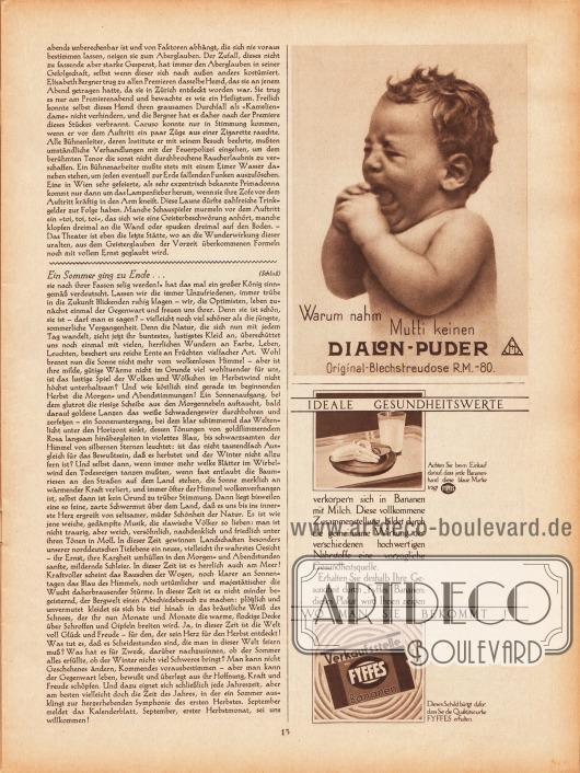 Artikel:Rudolphi, R., Lampenfieber&#x3B;Sell, Anita, Ein Sommer ging zu Ende... .Werbung:Warum nahm Mutti keinen Dialon-Puder&#x3B;Ideale Gesundheitswerte durch Fyffes Bananen.