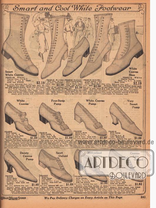 """""""Fesches und kühles, weißes Schuhwerk"""" (engl. """"Smart and Cool White Footwear""""). Schlichte Sommerschuhe aus weißem Kanevas, wie Stiefeletten, Oxfords, Pumps, Schnallenschuhe, Sandalen mit Schnallen sowie ein Oxford-Sportschuh. Die Schuh-Modelle zeigen eher niedrige und breite Absätze. Die Kanevas Schuhe sind auch ideal für den Strand oder den Kurort."""