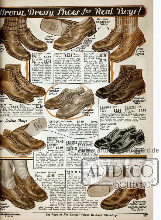 """""""Strapazierfähige und schicke Schuhe für echte Jungs!"""" aus Kalbsleder mit Perforationen und Ziernähten."""