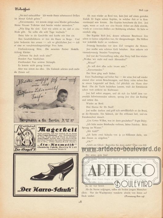 """Artikel:Jung, Hans, Der Bräutigam auf Probe.Werbung:Südstern Lilienmilch Seife, Bergmann & Co. Berlin NW 87&#x3B;""""Eta-Tragol-Bonbons"""", """"Eta-Kosmetik"""" Chemische Fabrik, Berlin W 148, Potsdamer Straße 32&#x3B;Der Harro-Schuh."""