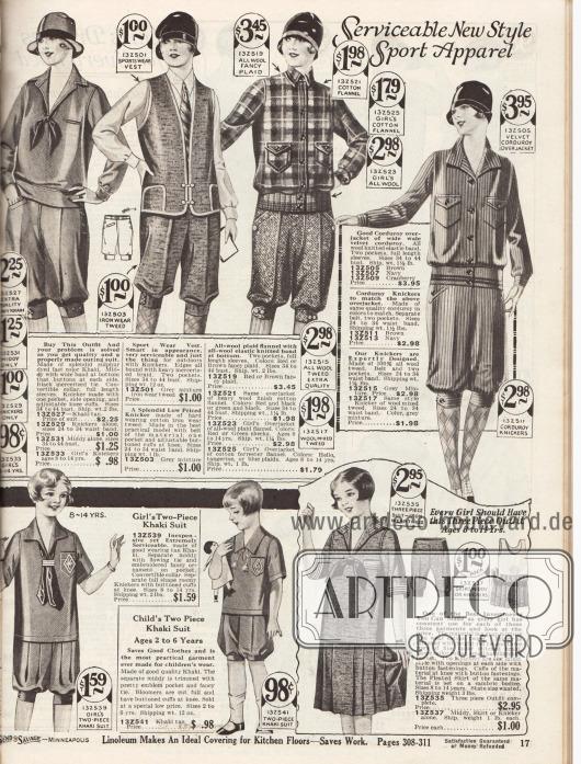 """""""Zweckdienliche neue Sportkleidung"""" (engl. """"Serviceable New Style Sport Apparel"""").Eine sportliche Matrosenbluse aus Khaki, eine Weste aus Tweed, Holzfällerjacken (""""lumberjacks"""") mit Brusttaschen und gestrickten Bündchen aus Wolle oder Kord und kurze Kniebundhosen für Frauen. Unten befinden sich Sportanzüge mit Pumphosen oder Rock aus Khakigewebe oder Tweed für Mädchen zwischen 2 bis 14 Jahren."""