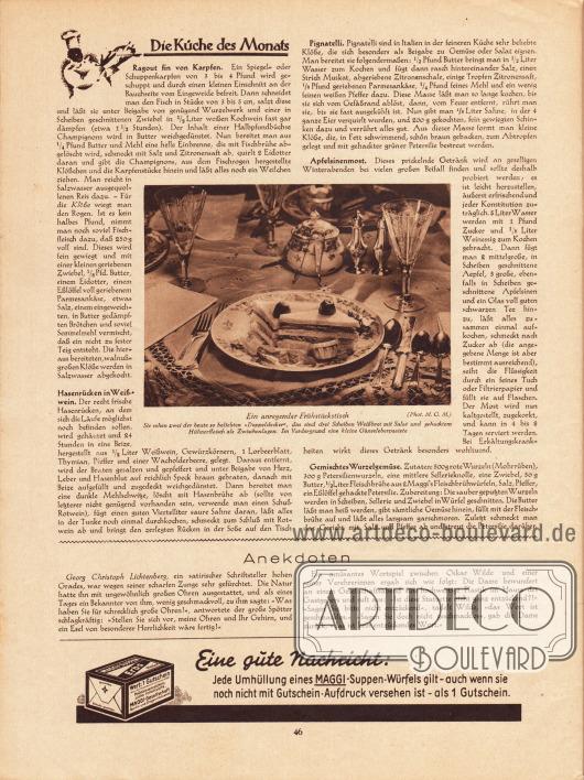 Artikel: O. V., Die Küche des Monats (Ragout fin von Karpfen, Hasenrücken in Weißwein, Pignatelli, Apfelsinenmost, Gemischtes Wurzelgemüse), mit dem Foto eines anregenden Frühstückstisches. Foto: M.G.M.; o. V., Anekdoten. Werbung: Maggi.