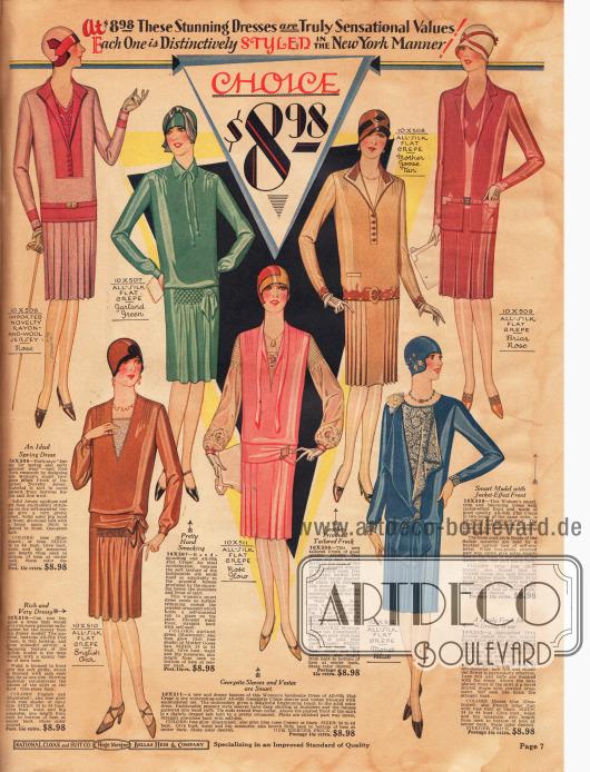 Sieben schlichte, aber mondäne Kleider für jeweils 8,98 Dollar aus Rayon-Woll-Jersey und Seiden Kreppstoffen. V-förmige Ausschnitte, hochgeschlossene Bubikragen, Brusteinsätze und Kellerfalten sind die hervorstehenden Merkmale dieser Kleider.