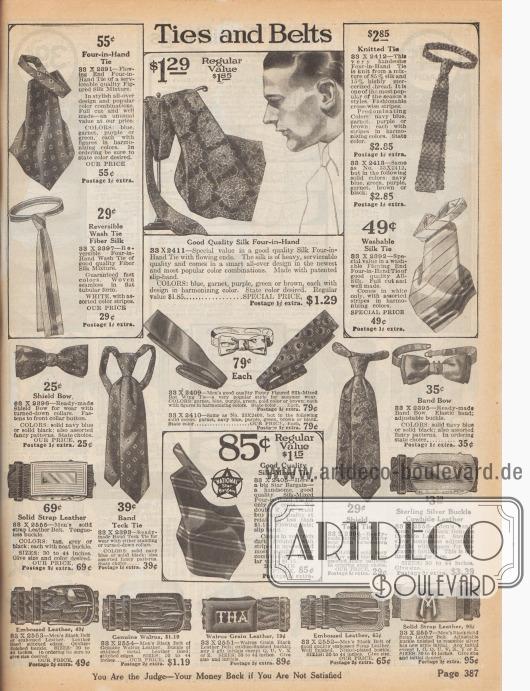 """""""Krawatten und Gürtel"""" (engl. """"Ties and Belts""""). Bunte, gemusterte sowie einfarbige und gestreifte Krawatten und Fliegen. Die Krawatten sind aus Seiden-Baumwoll-Mischgeweben oder reiner Seide hergestellt und tragen die Bezeichnungen """"Four-in-Hand"""", """"Ready made Shield Teck Tie"""" oder """"Bat Wing Tie"""". Oben rechts eine Strickkrawatte. Unten werden Gürtel aus Leder oder Walrossleder mit Metall-Schnallen offeriert. Zwei Modelle können mit Initialen nach Wunsch geordert werden."""
