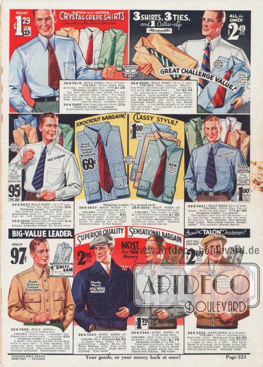 Farbige Hemden mit passenden Krawatten. Darunter ist auch ein Flanellhemd für Arbeit und Sport. Daneben warme Jacken mit Knöpfen zum Verschließen oder auch mit Reißverschluss.