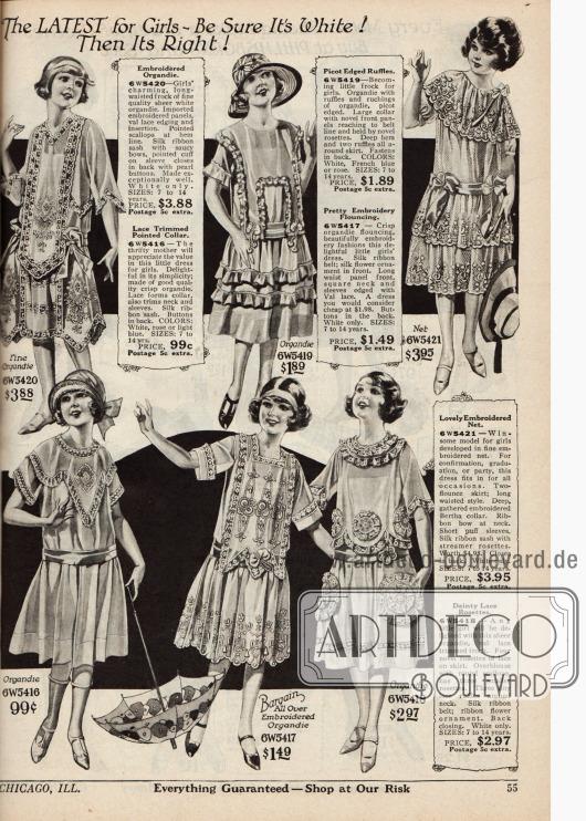 Doppelseite mit 13 feinen Sommerkleidchen für Mädchen zwischen sieben bis 14 Jahren. Die Kleidchen sind aus Rajah (Baumwoll-)Stoff, Seiden Taft, Gingham und Leinen, Pongette (Baumwollstoff mit Seidenaussehen), Normandie Schleierstoff, Ratine, Organdy sowie Spitzen und Netzstoffen.