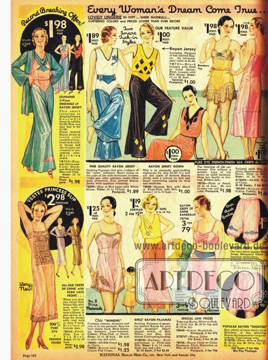 Pyjamas und Damenunterwäsche: Negligees, Seidenhöschen, Pumphöschen und Bandeaus.