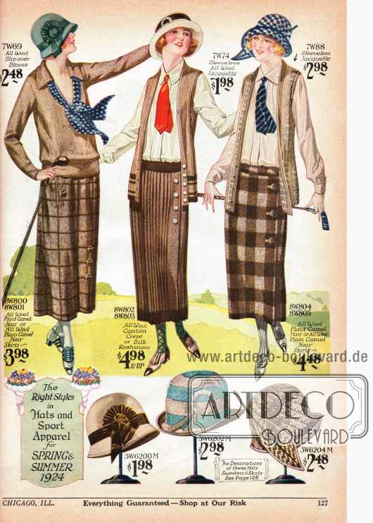 Sportkleidung für Frauen bestehend aus einer Bluse, Westenjacken, Röcken und Hüten. Die Bluse besteht aus Wolle, die Westenjacken aus reinem Woll-Jacquette, die Röcke aus großkariertem Woll-Kamelhaar, plissiertem Woll-Kanton Krepp oder wahlweise Roshanara Seide und die Sporthüte aus Wollfilz, Wollgarn und Hanf sowie Filz und Stroh. Alle drei Sportröcke werden seitlich über die Knopfleiste geschlossen.