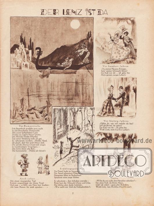 Artikel (Reime): O. V., Der Lenz ist da. Zeichnungen/Illustrationen: Hans Kossatz (1901-1985).
