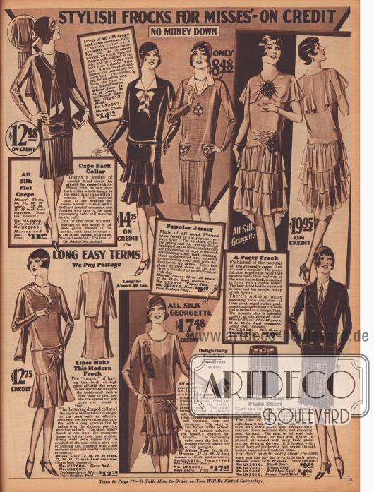 """""""Modische Kleider für Backfische – Keine Anzahlung nötig"""" (engl. """"Stylish Frocks for Misses' – No Money Down""""). Auswahl an Kleidern für jede Gelegenheit für 14- bis 20-jährige Mädchen und Frauen. Die Kleider sind aus Seiden-Krepp, Seide-Krepp-Satin, französischem Woll-Jersey oder Seiden-Georgette hergestellt. Glockige Röcke und Volantröcke oder glatte Röcke mit eingearbeiteten Falten sind zu sehen. Oben rechts wird zudem ein Abendkleid, hier """"Party Frock"""" genannt, aus Seiden-Georgette-Krepp mit zwei Buketts aus künstlichen Blüten angeboten. Unten rechts wird eine zweireihige Samtjacke mit einem passenden Plisseerock aus karierter Wolle offeriert."""