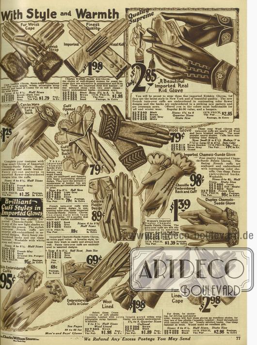 Fein gearbeitete Damenhandschuhe, teilweise gefüttert, aus Ziegenleder und lederartig gearbeiteten Stoff werden gerne mit Stickereien am Aufschlag versehen. Ein Paar (oben links) zeigt Besatz aus Kaninchenpelz.